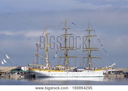 VARNA, BULGARIA - APRIL 30, 2014: Varna is a host of the prestigious international maritime event for a second time - the SCF Black Sea Tall Ships Regatta. The Romanian