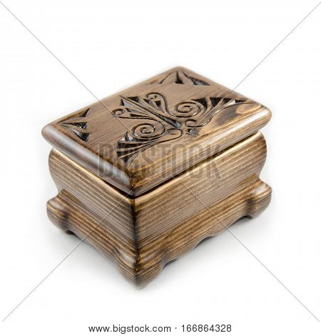 Wooden handmade casket isolated on white background