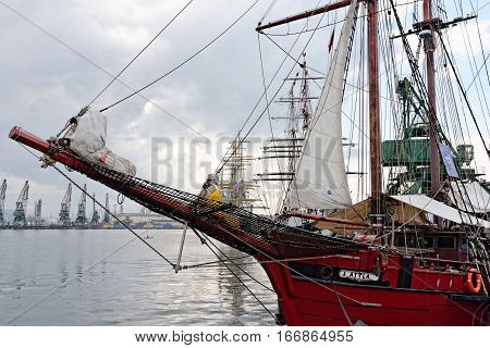 VARNA, BULGARIA - APRIL 30, 2014: Varna is a host of the prestigious international maritime event for a second time - the SCF Black Sea Tall Ships Regatta. ''Atyla'' from Netherlands.