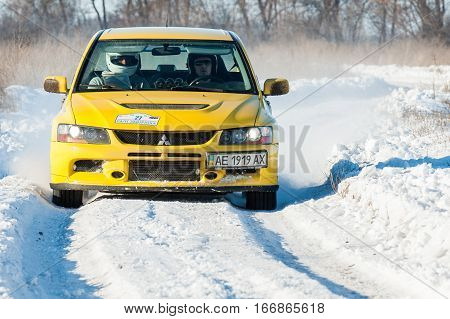 January 22 2017 - Dnipro city Ukraine - car during winter rally competition