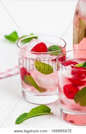 Gourmet Raspberry Vodka Cocktail Lemonade. Selective focus.