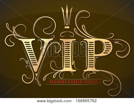 Rich decorated VIP Vip membership only gold and red card with crown on a dark bacground. poster
