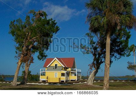 View of caretaker's cottage at Canaveral National Seashore Park