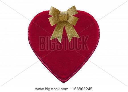 Red heart-shaped velvet box for Valentine's day gift isolated on white background with gold shiny glitter bow