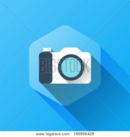simple illustration of camera icon in flat style with soft long shadow. vector camera symbol design. can be used for web design, web site, app mobile or widget.