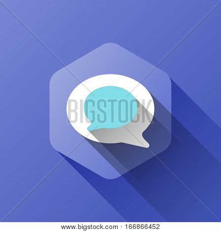 simple illustration of chat icon in flat style with soft long shadow. vector chat symbol design. can be used for web design, web site, app mobile or widget.