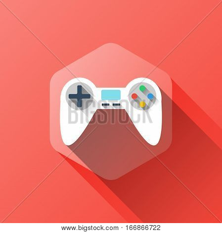 simple illustration of game icon in flat style with soft long shadow. vector gamepad symbol design. can be used for web design, web site, app mobile or widget.
