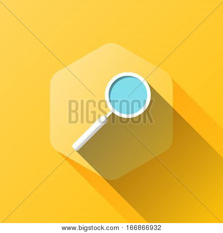 simple illustration of loupe icon in flat style with soft long shadow. vector search symbol design. can be used for web design, web site, app mobile or widget.