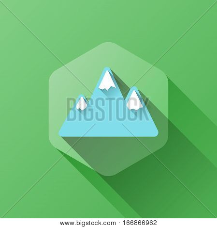 simple illustration of mountains icon in flat style with soft long shadow. vector mountain symbol design. can be used for web design, web site, app mobile or widget.