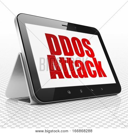 Security concept: Tablet Computer with red text DDOS Attack on display, 3D rendering