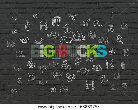 Business concept: Painted multicolor text Big bucks on Black Brick wall background with  Hand Drawn Business Icons