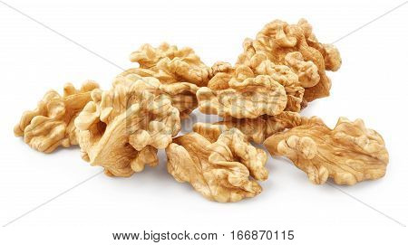 Walnuts isolated on white background. Healthy food