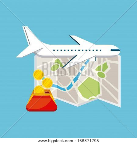 airplane, city map and purse with coins over blue background. colorful design. travel and tourism concept. vector illustration