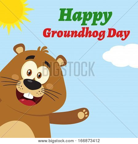 Cute Marmot Cartoon Mascot Character Waving From Corner. Illustration Flat Design With Background And Text Happy Groundhog Day