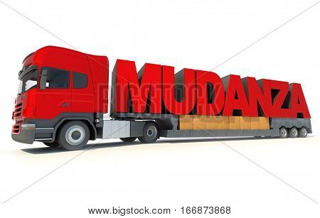 3D rendering Huge trailer truck carrying the letters forming the Spanish word Mudanza, meaning moving