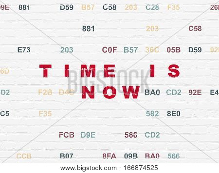 Time concept: Painted red text Time is Now on White Brick wall background with Hexadecimal Code