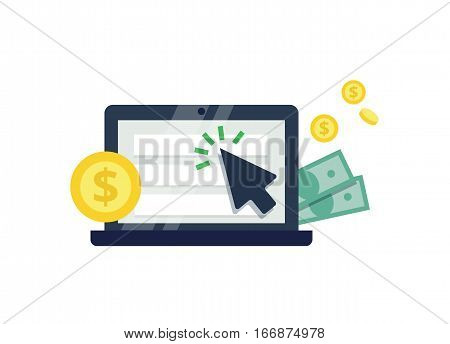 Pay Per Click flat style vector icon. Internet advertising, online marketing concept. Modern illustration for web design, marketing and print material.