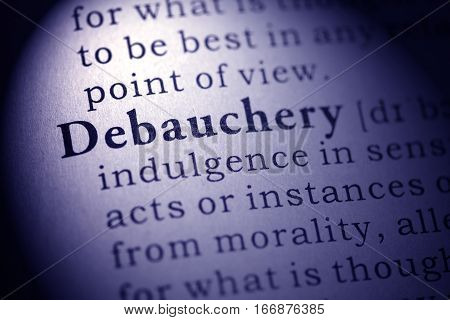 Fake Dictionary Dictionary definition of the word debauchery.