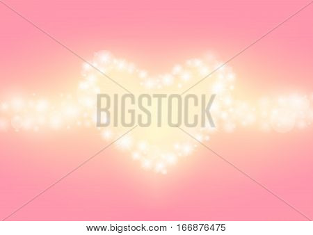romantic sparkle abstract background, heart glitter sparking with pink background, wedding twinkle background, vector illustration