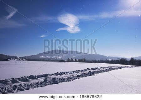 Clouds in the sky in the shape of a flying bird. Winter sunny landscape Kvilda Sumava Czech republic. The concept of winter sports. Tourism concept. Bodycopy space. The concept for promotional use