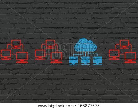 Cloud technology concept: row of Painted red lan computer network icons around blue cloud network icon on Black Brick wall background
