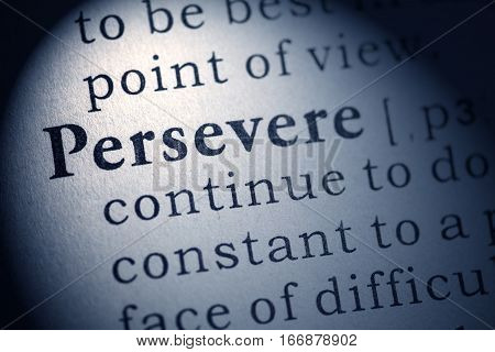 Fake Dictionary Dictionary definition of word persevere.