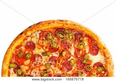 Half of delicious classic italian Burning Pizza with sausages pepper jalapeno sauce and cheese isolated on white background