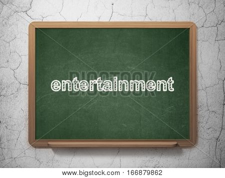 Entertainment, concept: text Entertainment on Green chalkboard on grunge wall background, 3D rendering