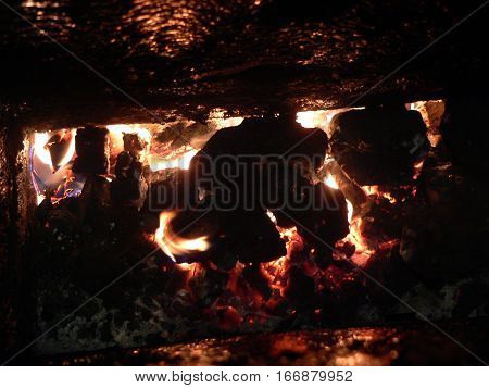 Hard coal burning boiler.Drowning in winter   coal