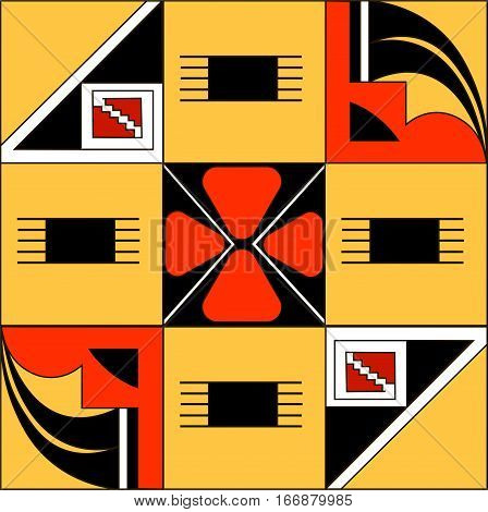 Ethnic patterns of Native Americans: the Aztec, Inca, Maya (Mexico, Ecuador, Peru). Drawing in the Mexican style. Spider, vulture. Vector illustration.
