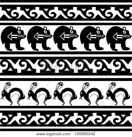 Ethnic patterns of Native Americans: the Aztec, Inca, Maya (Mexico, Ecuador, Peru). Drawing in the Mexican style. Bear, rabbit. Vector illustration.