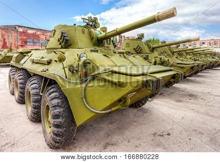SAMARA RUSSIA - MAY 7 2014: 2S23 Nona-SVK 120mm self-propelled mortar carrier on wheeled chassis of the BTR-80