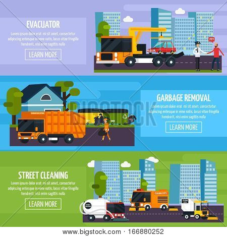 Special transport flat horizontal banners set with wrecker garbage removal and street cleaner decorative icons vector illustration