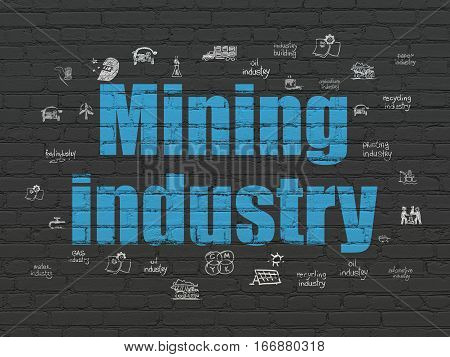 Industry concept: Painted blue text Mining Industry on Black Brick wall background with  Hand Drawn Industry Icons