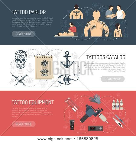 Three colored flat tattoo studio horizontal banner set with tattoo parlor tattoos catalog tattoo equipment descriptions vector illustration