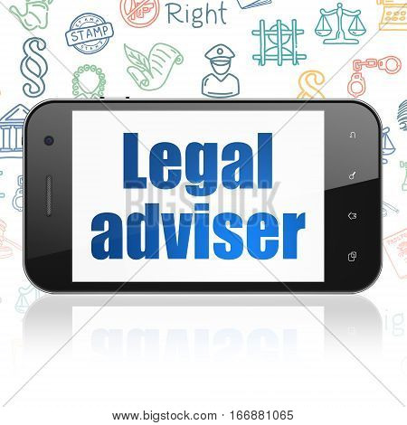 Law concept: Smartphone with  blue text Legal Adviser on display,  Hand Drawn Law Icons background, 3D rendering