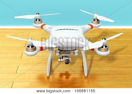 Creative abstract 3D render illustration of professional remote controlled wireless RC quadcopter drone with 4K video and photo camera for aerial photography on wooden laminated plank floor indoors in domestic home room
