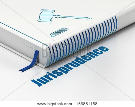 Law concept: closed book with Blue Gavel icon and text Jurisprudence on floor, white background, 3D rendering
