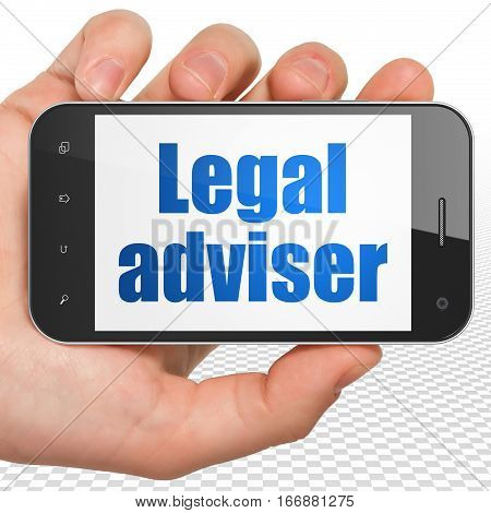 Law concept: Hand Holding Smartphone with blue text Legal Adviser on display, 3D rendering
