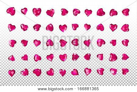 shiny red gem stones in shape of heart, vector collection. Every heart is a separate group, easy to move, edit or delete, you can easily build your own composition.