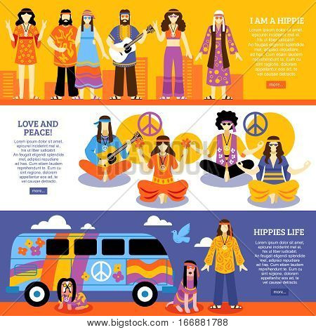 Hippie horizontal banners set with group of young people with ethnic fashion style wear  fashion meditating and playing guitar flat vector illustration