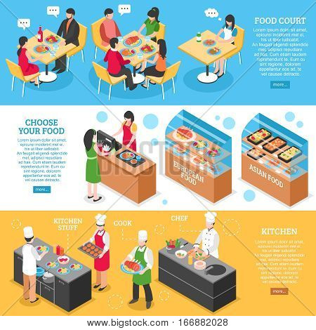 Three food court horizontal banners set with isometric restaurant visitors cooks characters and read more button vector illustration