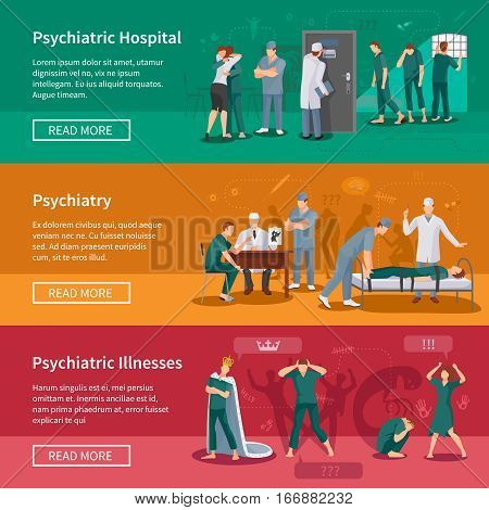 Psychiatric illnesses horizontal banners set with hospital symbols flat isolated vector illustration