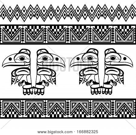 Ethnic patterns of Native Americans: the Aztec, Inca, Maya, Alaska Indians (Mexico, Ecuador, Peru). Drawing in the Mexican style. raven. Vector illustration.