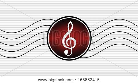 Treble clef on a white background with gray lines