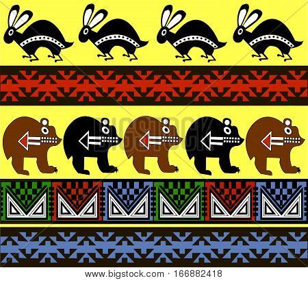 Ethnic patterns of Native Americans: the Aztec, Inca, Maya, Alaska Indians (Mexico, Ecuador, Peru). Drawing in the Mexican style. Bear and rabbit. Vector illustration.