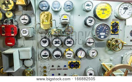 Engineering interior of aircraft carrier