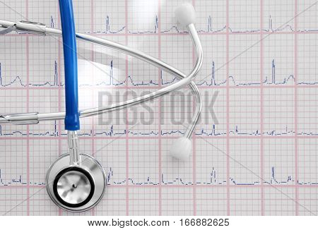 Electrocardiogram in paper form and stethoscope, closeup