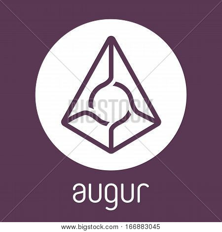 Augur REP open-source cripto currency on blockchain technology vector, icon, sign for print and web.