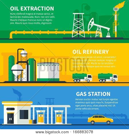 Three horizontal oil and gas industry colorful banners set with flat powerplant transfer fuel station compositions vector illustration